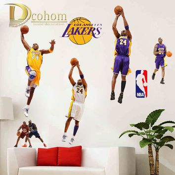 nba los angeles lakers kobe bryant basketball player wall sticker vinyl art decals wall poster kids room decoration  number 1