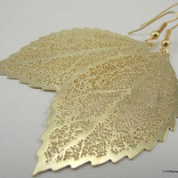 Medium Golden Leaf Skeleton Earrings Gold by JSWMetalWorks on Etsy