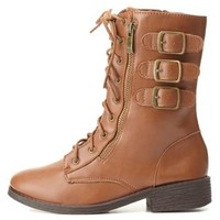 Bamboo Triple-Belted Combat Boots by Charlotte Russe - Brown