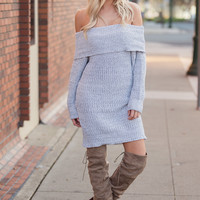 Knit Fever Off the Shoulder Sweater Dress (Heather Grey)
