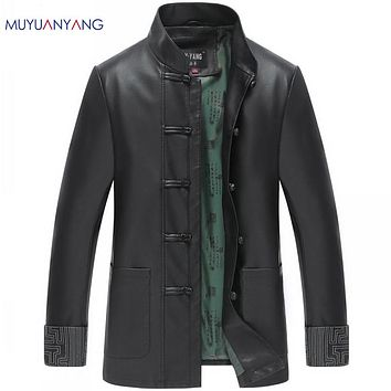 New Men Leather Jackets And Coat Mandarin Collar Faux Costume Leather Jackets Men's Suit Jackets