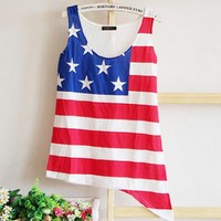 Cute Vest with USA Stars and the Stripes Flag Print