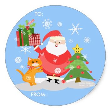 Christmas Santa Gift Tag Stickers