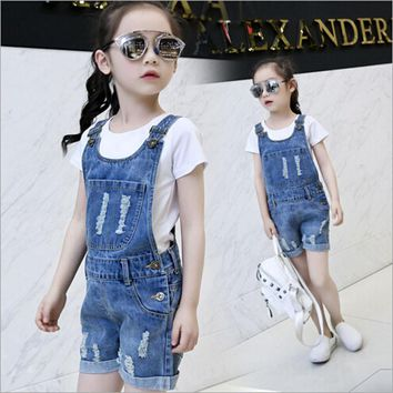 Big Girls Denim Overalls Spring Summer Fashion New Style Children Clothing Casual Kids suspender trousers Solid Girl Denim Jeans