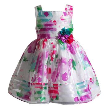 Youngland Floral Stripe Organza Dress - Girls
