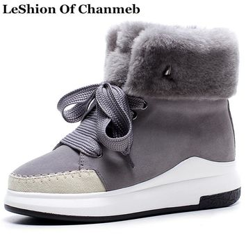 Fashion 2018 Large Size 43 Faux Fur Genuine Leather Lace up Flats Casual Boots Women Warm Winter Snow Boots Woman Ankle Boots