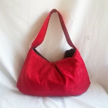Red floral hobo bag  Medium red hobo handbag in soft by ACAmour