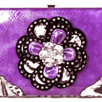 * Crystal Leaf Leopard Purple Flower Clutch Opera Wallet