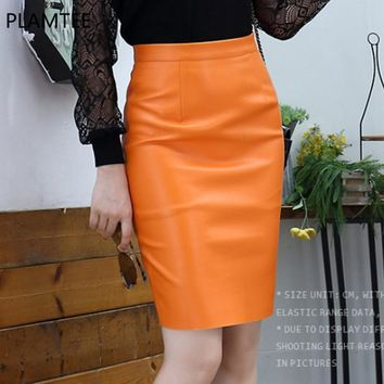 PLAMTEE New Autumn High Waist Slim Feminine Pencil Leather Skirt 2017 All match Zipper PU Faldas Mujer Fashion Office Lady Jupe
