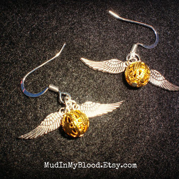 Wizard World Inspired Mini Golden Orb with Silver Wing Earrings