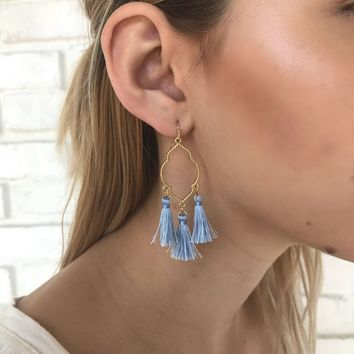 Dreamy Tassel Earring in Blue