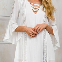 White Lace Up Cut Out Bell Sleeve Swing Dress