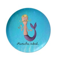 Blond Mustached Merman Plates from Zazzle.com