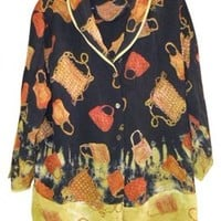Citron Santa Monica Multicolored Womens Shirt L Handbag Design Top