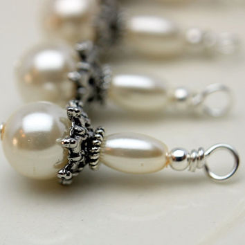 Classic White Double Pearl Wedding Bead Dangle Charm Drop Set