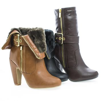 Mozza14 Almond Toe Foldable Cuff Fur Lined Zip Up Boots
