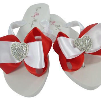 Red Bridal Flip Flops/Bridesmaid Wedding Sandals/Ivory Wedge. Wedding Accessories.Heart Rhinestone. Bling Flip Flops, Bride Shoes, Beach