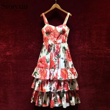 Svoryxiu 2018 Runway Summer Spaghetti Dress Women's Vintage Rose Floral Print Cascading Ruffle Holiday Female Ball Gown Dress