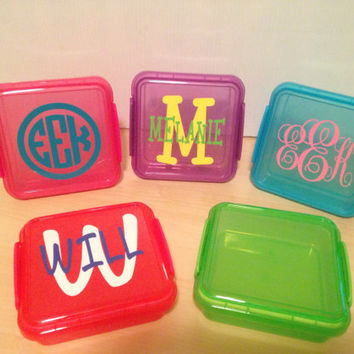 Monogrammed Plastic Sandwich Container Vinyl Decals Personalized BACK TO SCHOOL!