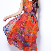 Orange Printed Sleeveless Tie-Waist A-Line Maxi Dress