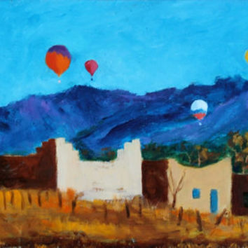 Taos, NM - Balloons - Turquoise - Adobe - Original Oil Painting - Southwest Honeyscolors - Landscape - New Mexico - 16 x 8- Wet Paint
