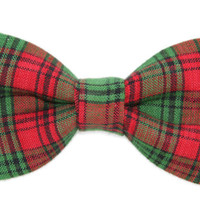Red / Green Plaid Clip On Cotton Bow Tie Bowtie - Men / Boys / Toddler 2T 3T 4T