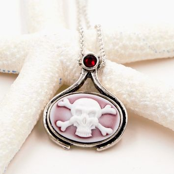 Pirate Skull and Crossbones Cameo Necklace with Swarovski Elements Rhinestone (Pirate Goth Fantasy Jewelry)