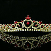 Crystal Heart Pattern Bridal Wedding Prom Party Tiara Crown - Red Crystals Gold Plating