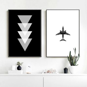 Wall Art Print  Airplane Geometric Black White Poster Nordic Wall Art Print Canvas Picture Paintings For Living Room Wall Decor