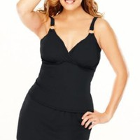 Avenue Plus Size Solid Skirtini with Control, Black 18