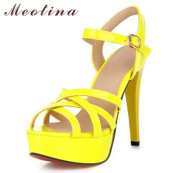 Meotina Hot Sale Fashion Summer Women Sandals Summer Heels Gladiator Party Platform Th