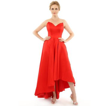 Red Satin Prom Dress Sweetheart Hi Lo Sleeveless Lace Up Formal Dress Special Occasion Dress