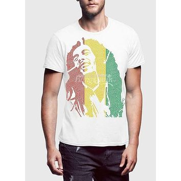 Bob Marley Mania White Half Sleeve Men T-Shirt