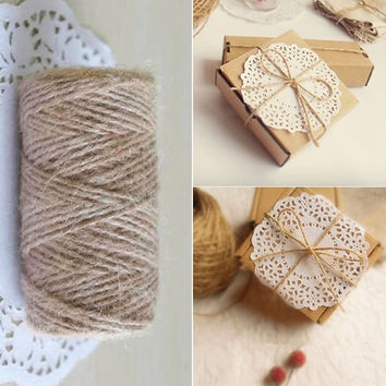 33M Christmas Hemp Rope Cord Marline for Wedding Favors Candy Boxes DIY Decor (Size: 1, Color: Brown) = 1932177924