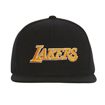 Los Angeles Lakers Mitchell and Ness NBA Current Wool Solid 2 Snapback Cap (Black)