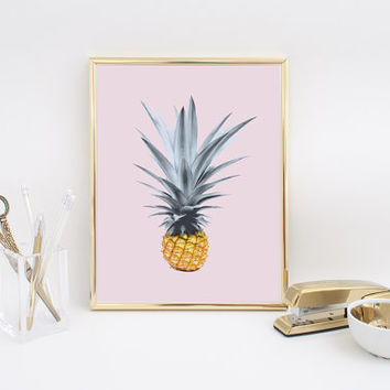 Pineapple Print, Tropical Art, Pineapple Poster, Tropical Print, Fruit Print, Botanical Art, Modern Wall Decor, Nursery Decor, Illustration