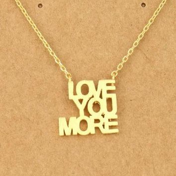 PEAPVA6 Love you more Letter Pendant Necklace