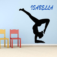 Custom Gymnast Wall Decal, Personalized  Wall Decal, Gymnastics Decor, Custom Name Girls Room,  Dancing Girl, Ballerina, Kids Art  nm060