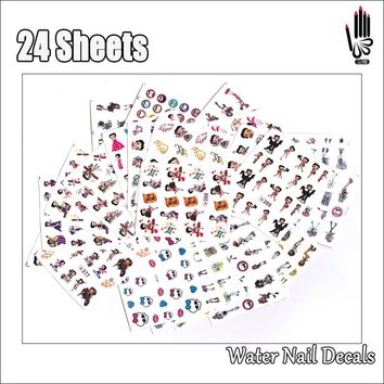 Nail Art 24Sheets/Lot Mix Betty Boop and Monster High Nail Art Water Sticker Decal For Gel Nail 24SY386