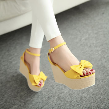 Bow-Ankle-Straps-Wedges-Sandals-Women-Pumps-Platform-Shoes 7668