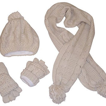 N'Ice Caps Girls Bulky Cable Knit Hat/Scarf/Converter Glove Set (4-12yrs, winter white cream)