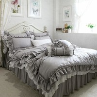 New European grey bedding set big ruffle lace duvet cover bedding wrinkle bedspread bed sheet for wedding decorative bed clothes