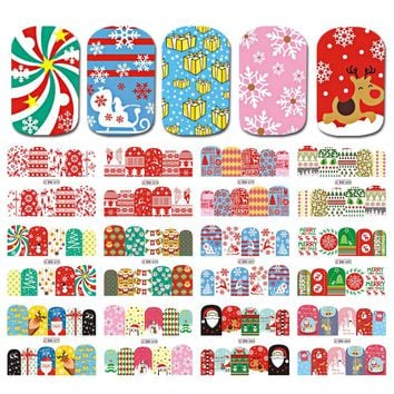 12 Designs Christmas Pattern Nail Stickers Dear/Saint Nail Tips Decals Full Water Transfer Sticker Decor for Nail LABN673-684