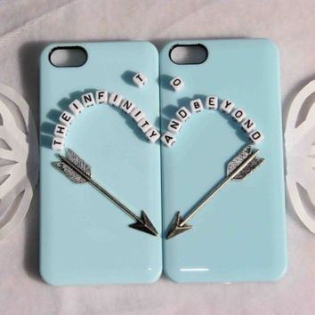couple phone case silver arrow heart protective case for iPhone 5/4/4s to infiniy and beyond best friend /sisters/bridesmaid gift set of 2