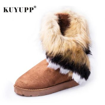 Womens Flat Ankle Snow Boots Fur Winter Warm Snow Round-toe Female Flock Leather Shoes