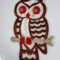 Large Vintage Embroidered Owl Sew On Patch Brown and Orange