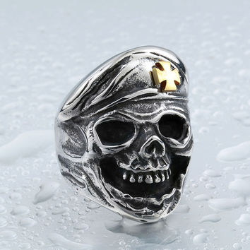 Skull Soldier Iron Cross Ring