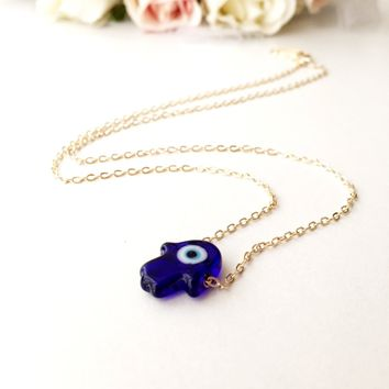 Blue hamsa evil eye necklace, hamsa choker necklace, gold chain hamsa evil eye necklace