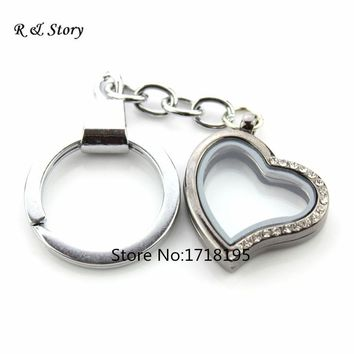 30mm Gun black rhinestone heart magnetic glass locket keychains floating charm locket Zinc Alloy LFK_053