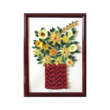 Quilled Yellow Posies in Red Frame, Flowers Quilling Art, Floral Quilling Art, Framed Posies